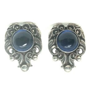 50s Prosa Mexican Sterling Blue Art Glass Earrings